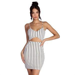 COPY - Black & White Cut Out Striped Mini Dress